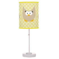 Owls on Yellow Table Lamp
