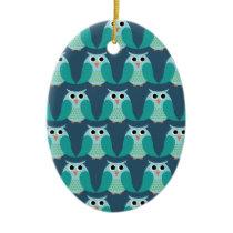 Owls, Owls, Owls! - Blue Ceramic Ornament
