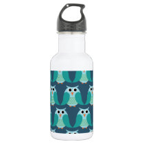 Owls, Owls, Owls! - Blue Water Bottle