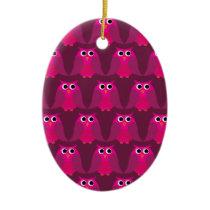 Owls, Owls, Owls! - Pink Ceramic Ornament