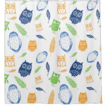 Owls Pattern Orange Navy Blue Lime Shower Curtain