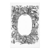 Owls Perched in Pine Tree Vintage Stationery