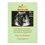 "Owls Photo Pregnancy Announcement 4.5"" X 6.25"" Invitation Card"