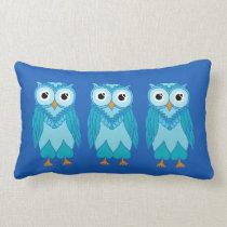 Owls Pillow: Blue Owls Lumbar Pillow