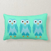 Owls Pillow: Turquoise Owls Lumbar Pillow