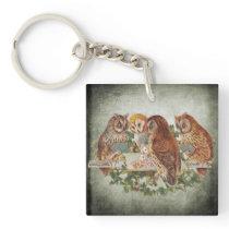 Owls Playing Poker Keychain
