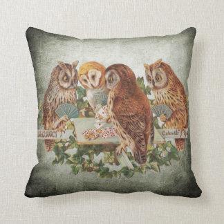 Owls Playing Poker Throw Pillow