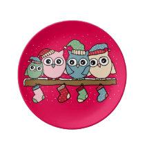 owls porcelain plate