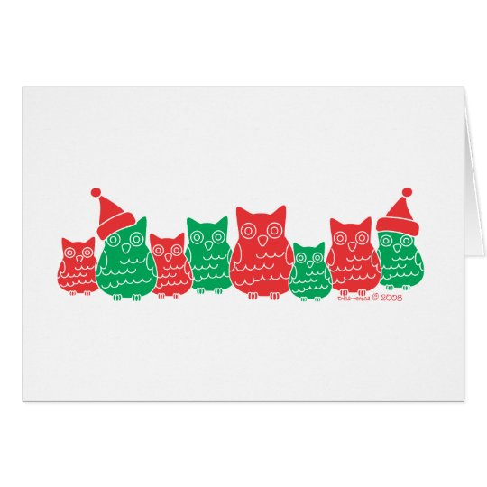 Owls Red and Green Card