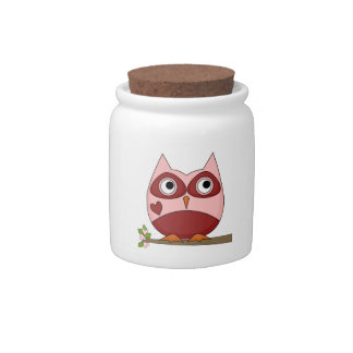 Owls Red Pink Cartoon Owl Heart Spare Change Bank Candy Dish