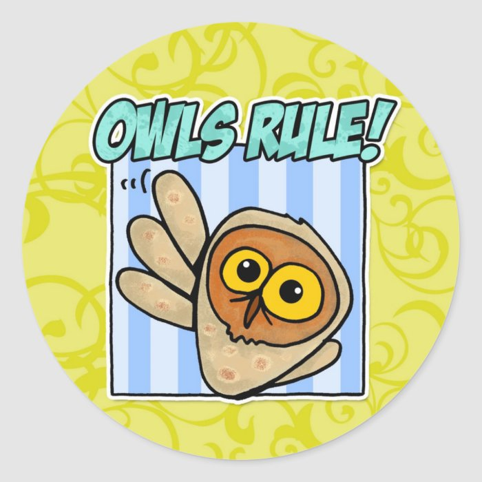 owls rule classic round sticker
