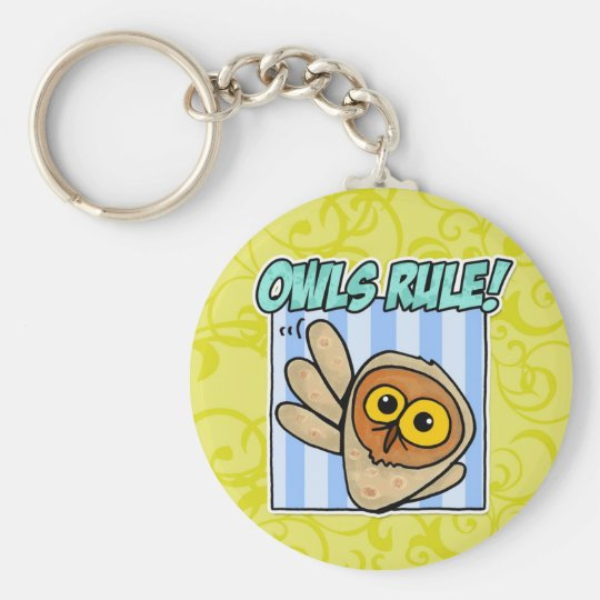 owls rule keychain