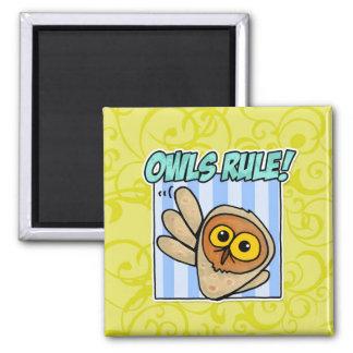 owls rule fridge magnets
