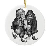 owls skating vintage ceramic ornament