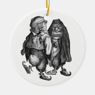 owls skating vintage ceramic ornament