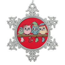 owls snowflake pewter christmas ornament
