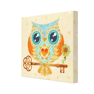 Owl's Summer Love Letters Wrapped Canvas Canvas Print