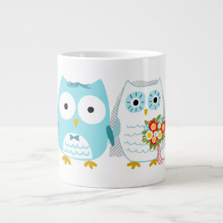 Owls Wedding Bride and Groom Large Coffee Mug