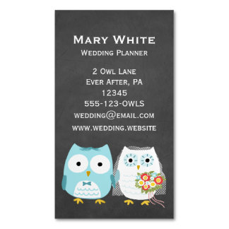 Owls Wedding Bride and Groom Magnetic Business Card