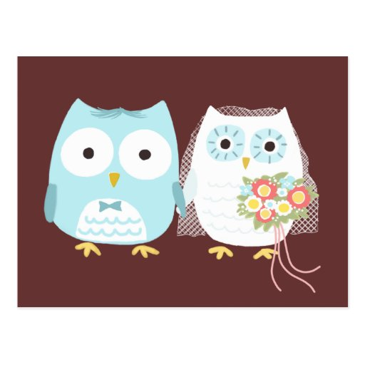 Owls Wedding Bride and Groom Post Cards