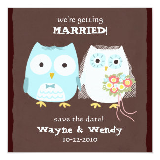Owls Wedding Bride and Groom Save the Date Card
