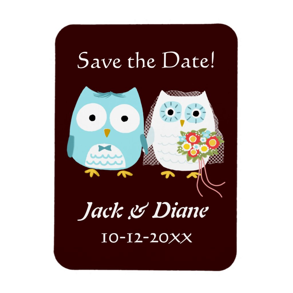 Owls Wedding Bride and Groom Save the Date Rectangle Magnets