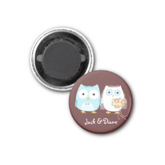 Owls Wedding Bride and Groom w/ Customizable Text 1 Inch Round Magnet