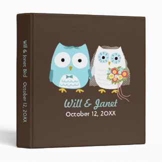 Owls Wedding - Bride and Groom with Custom Text Binder