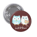 Owls Wedding Bride and Groom with Custom Text 1 Inch Round Button