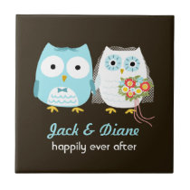 Owls Wedding - Bride and Groom with Custom Text Ceramic Tile