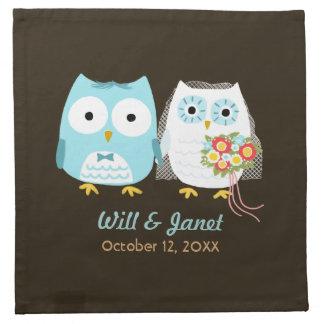 Owls Wedding - Bride and Groom with Custom Text Cloth Napkin