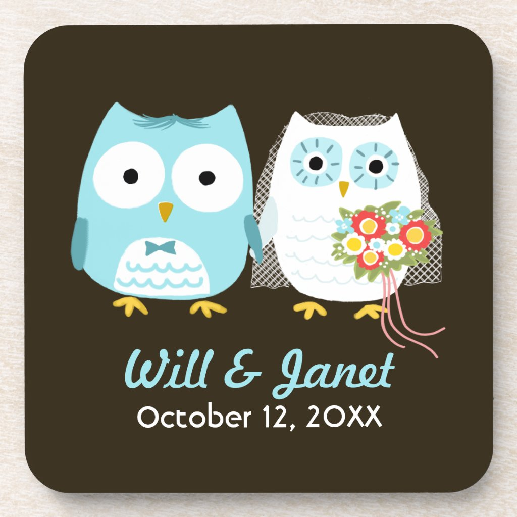Owls Wedding - Bride and Groom with Custom Text Drink Coaster