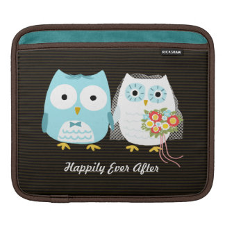 Owls Wedding - Bride and Groom with Custom Text Sleeve For iPads