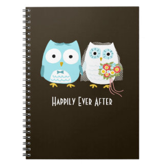 Owls Wedding - Bride and Groom with Custom Text Notebook
