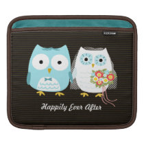 Owls Wedding - Bride and Groom with Custom Text Sleeve For iPads