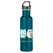 Owls Wedding Bride and Groom with Custom Text Stainless Steel Water Bottle