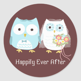 Owls Wedding Bride and Groom with Custom Text Classic Round Sticker