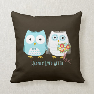 Owls Wedding - Bride and Groom with Custom Text Throw Pillow