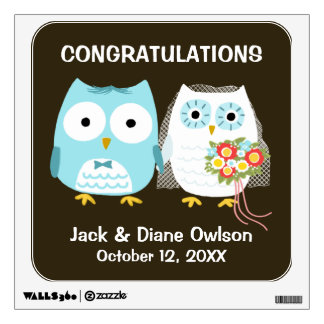 Owls Wedding Bride and Groom with Custom Text Wall Decal