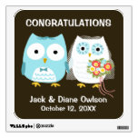 Owls Wedding Bride and Groom with Custom Text Room Decal