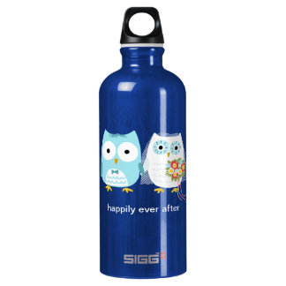 Owls Wedding Bride and Groom with Custom Text Water Bottle
