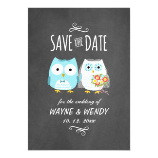 Owls Wedding Chalkboard Style Save the Date Magnetic Card
