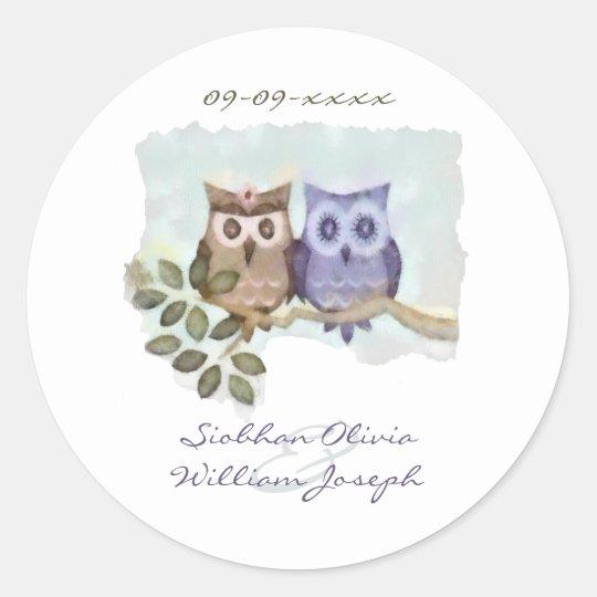Owls Wedding Classic Round Sticker
