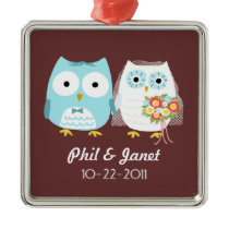 Owls Wedding Couple - Adorable Bride and Groom Metal Ornament