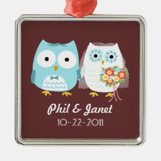 Owls Wedding Couple - Adorable Bride and Groom Square Metal Christmas Ornament