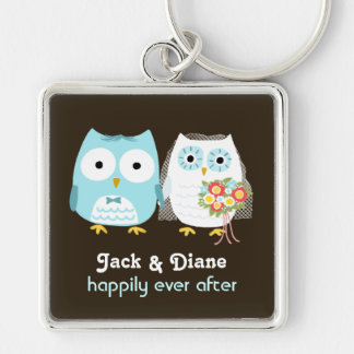 Owls Wedding Couple - Cute Bride and Groom Keychain