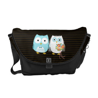 Owls Wedding Couple - Fun Bride and Groom Design Courier Bags