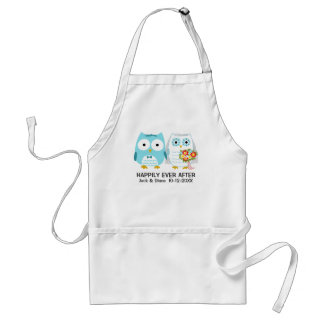 Owls Wedding Couple with Custom Text Adult Apron