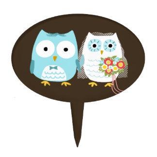 Owls Wedding - Cute Bride and Groom Cake Topper