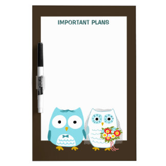 Owls Wedding - Cute Bride and Groom Dry Erase Whiteboards